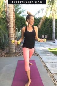 woman doing corepower yoga sculpt