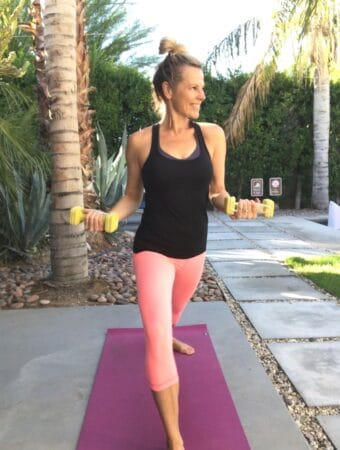woman doing corepower yoga sculpt