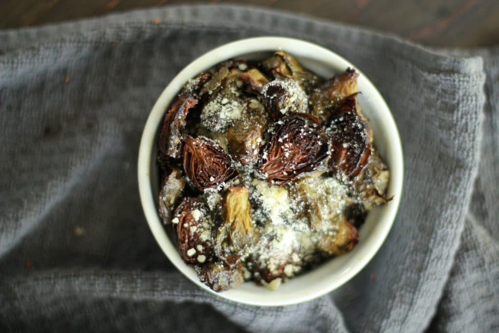 oven roasted brussel sprouts with parmesan