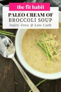 cream of broccoli soup in a white bowl