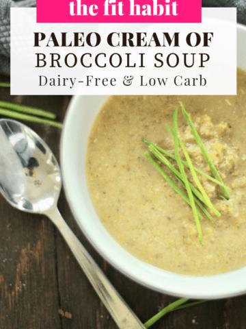 cream of broccoli soup in a white bowl