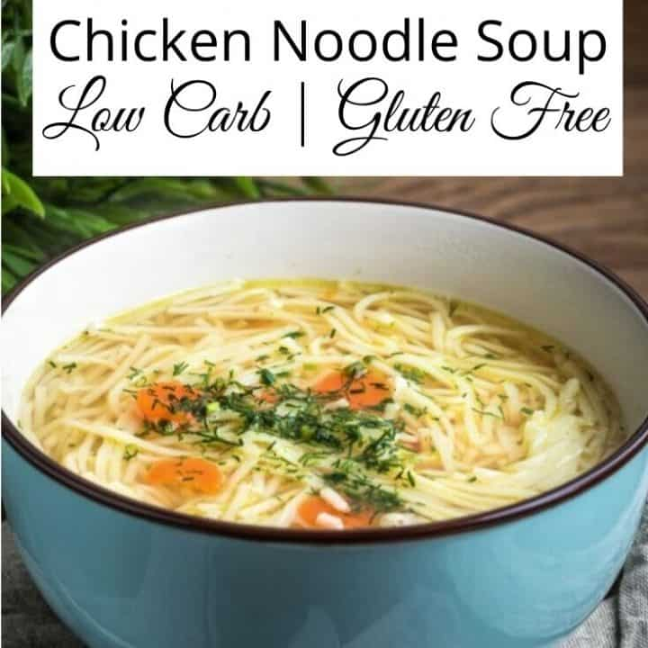 Low Carb Chicken Noodle Soup Recipe | Gluten free, calorie free noodles make up this awesome recipe for chicken soup. Enjoy this traditional favorite with a twist.