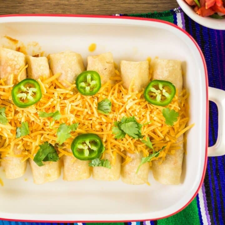 low carb enchiladas in a casserole dish