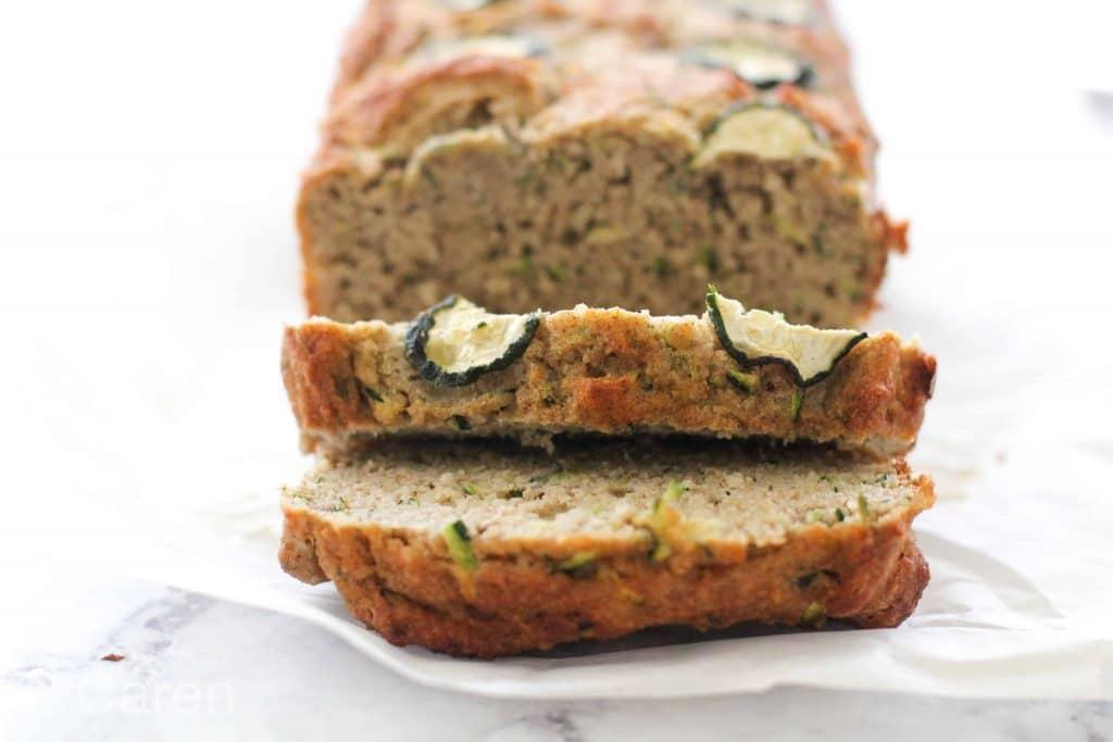 sliced zucchini bread loaf