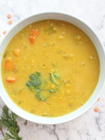 bowl of golden lentil curry soup