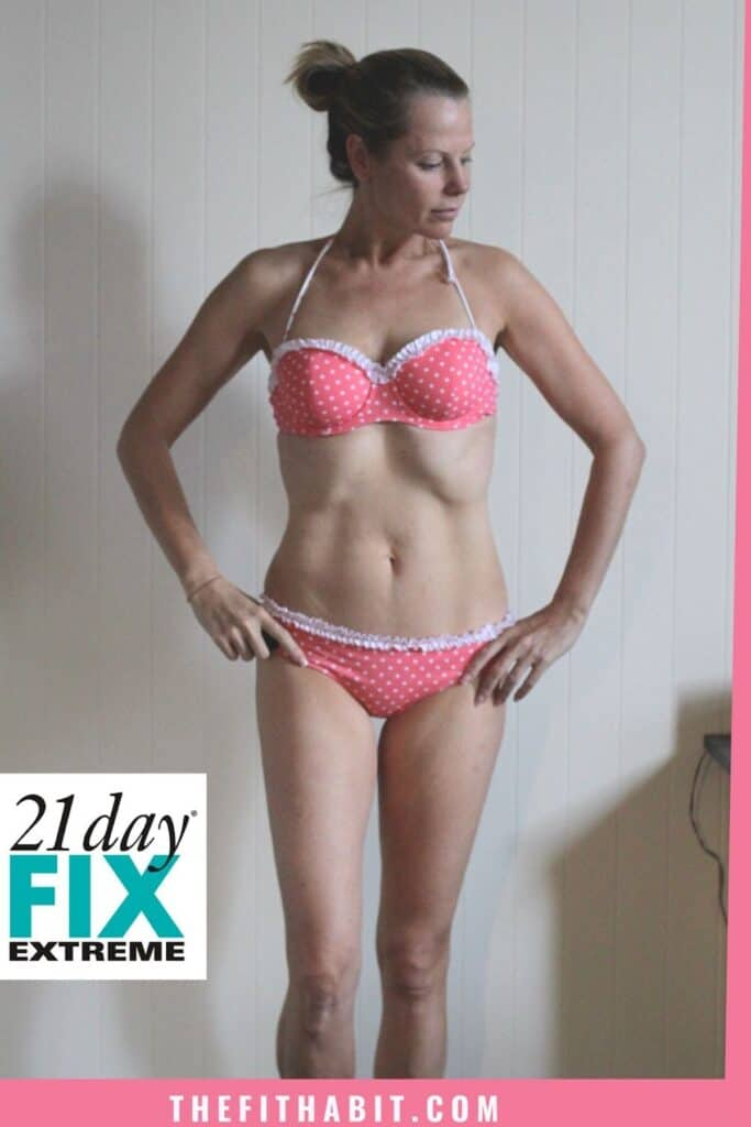 "21 Day Fix Extreme ""After"" Picture - woman standing in pokadot bikini"