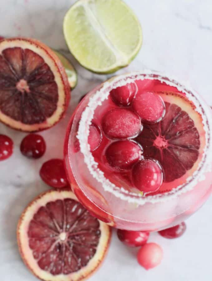 cranberry margarita with rim