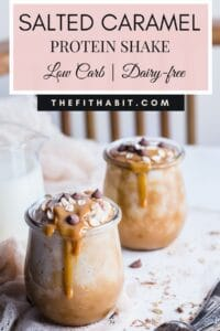 salted caramel shakeology with caramel topping and chocolate chips