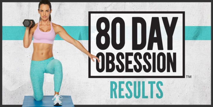 80 day obsession banner with woman lifting weights