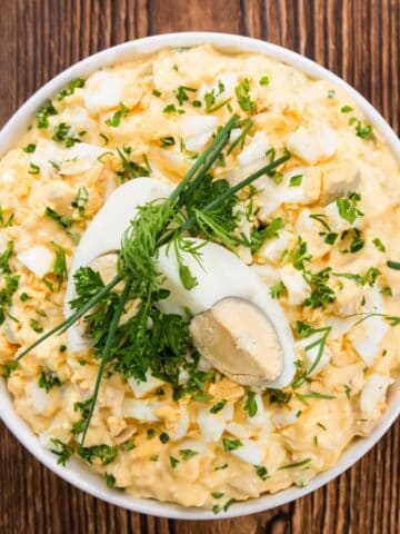 egg salad in a white bowl