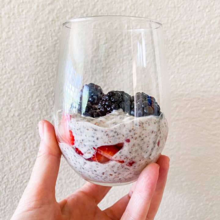 low carb superfood breakfast bowl in a glass