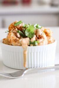 bang bang shrimp in a small bowl
