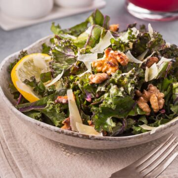 Lemon kale salad in a bowl