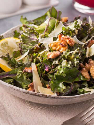Lemon kale salad in a bowl
