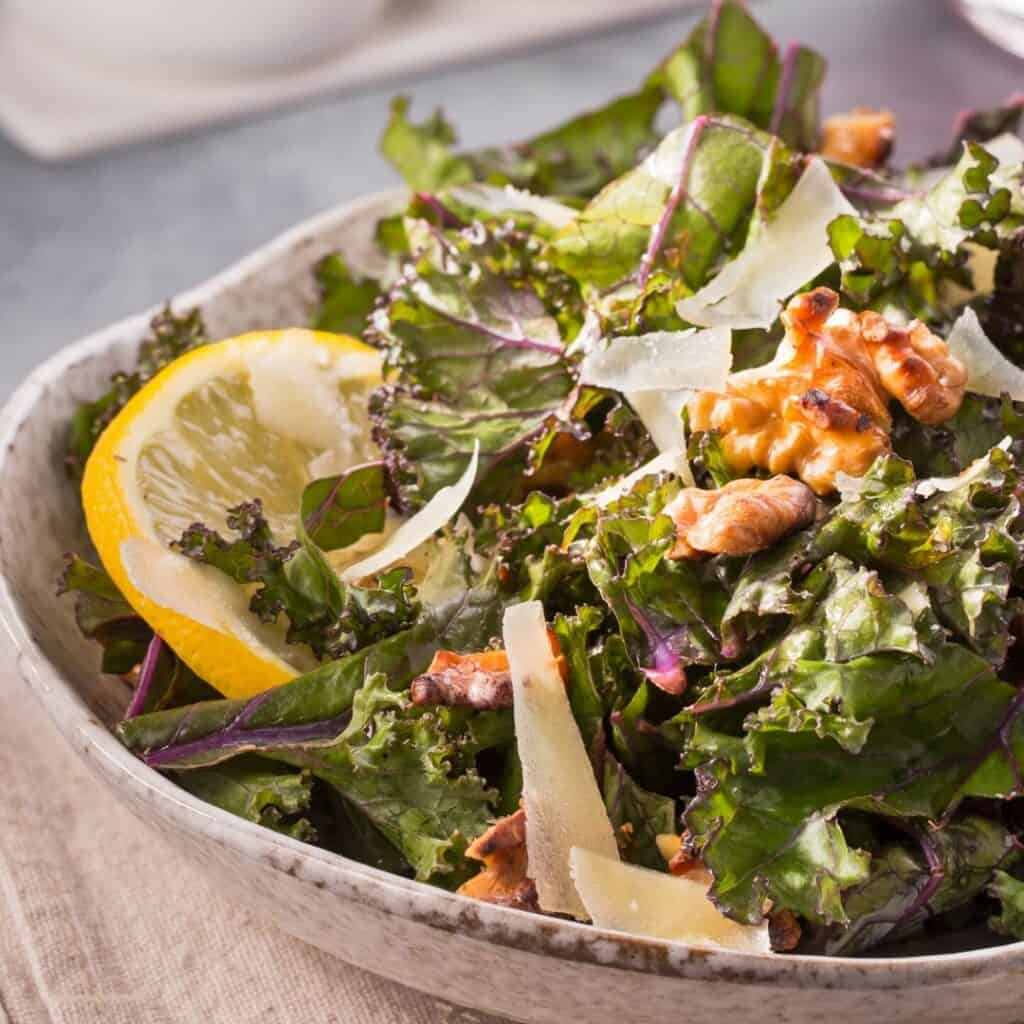 bowl of lemon kale salad