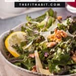 lemon kale salad in a bowl on a napkin