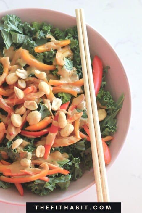 Pad Thai Kale Salad in a bowl