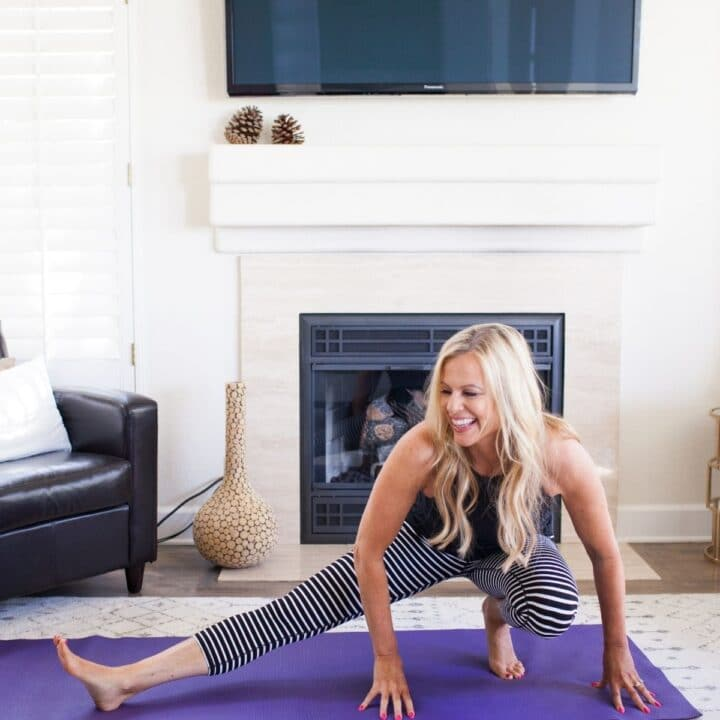 woman doing yoga challenge