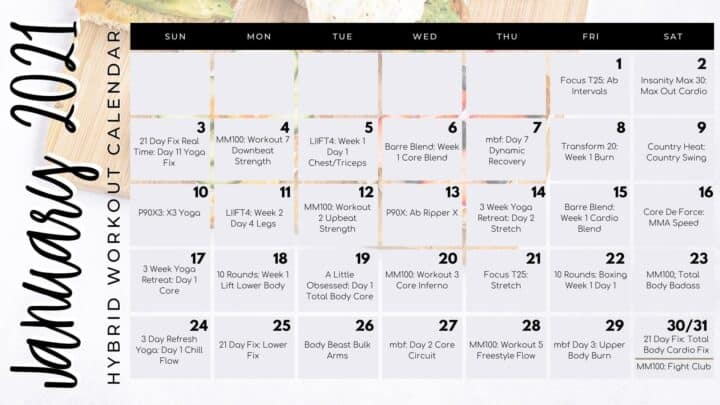 Beachbody on Demand Hybrid workout calendar mash up