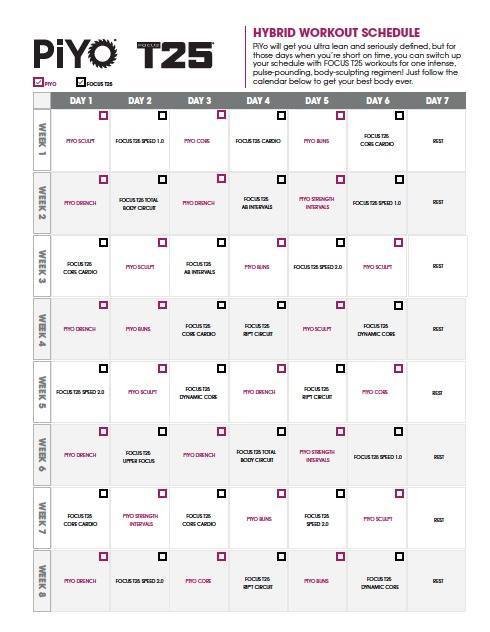 Piyo Focus t25 hybrid workout calendar
