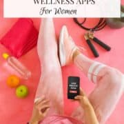 female with fitness app