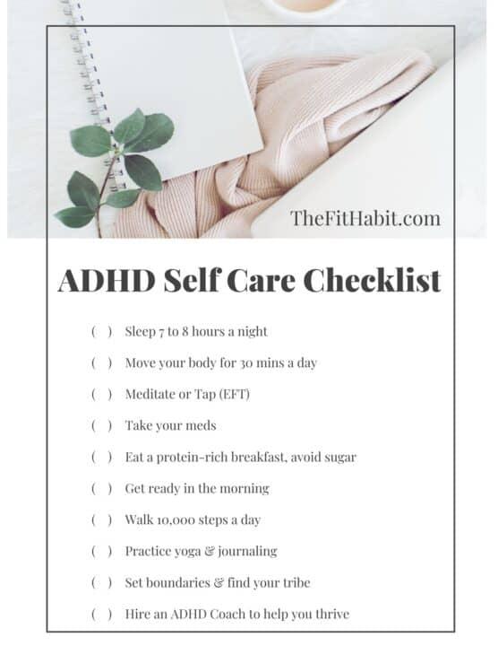 Self care checklist ADHD