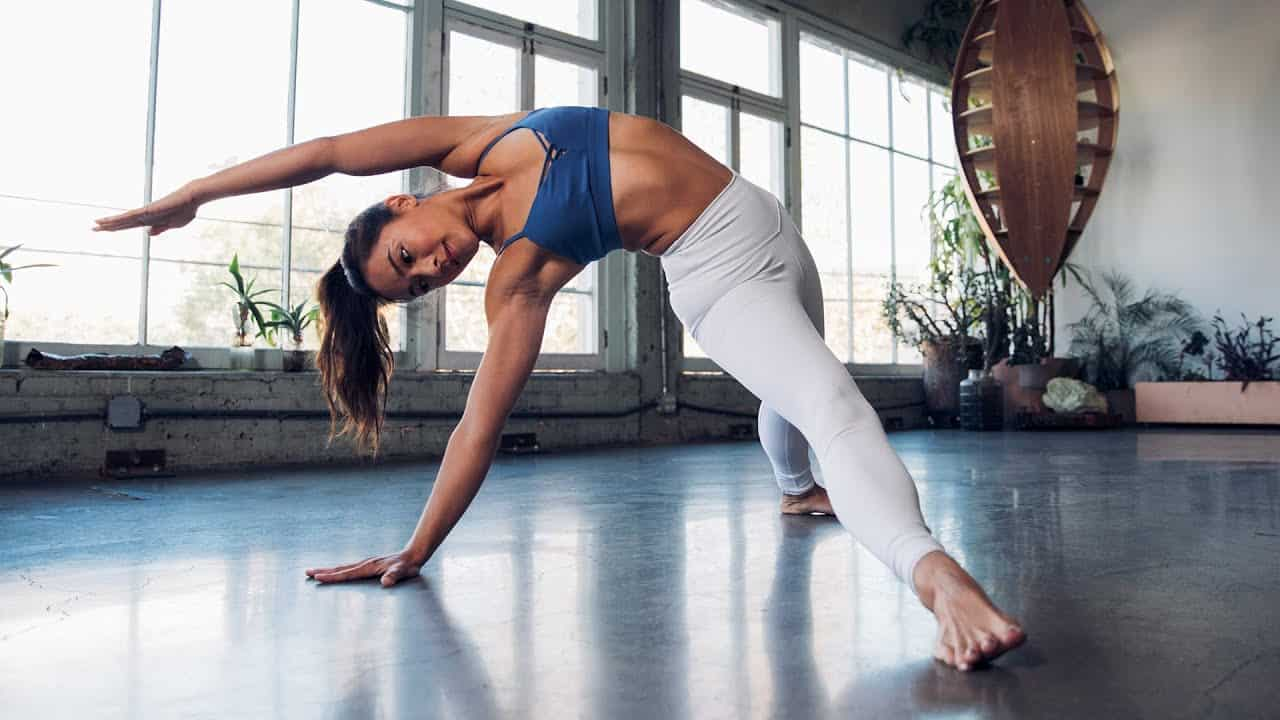alo moves review woman doing barre