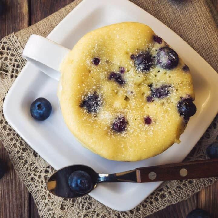 vanilla blueberry protein mug cake