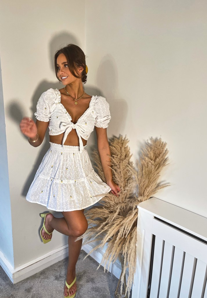 garden party white skirt and top