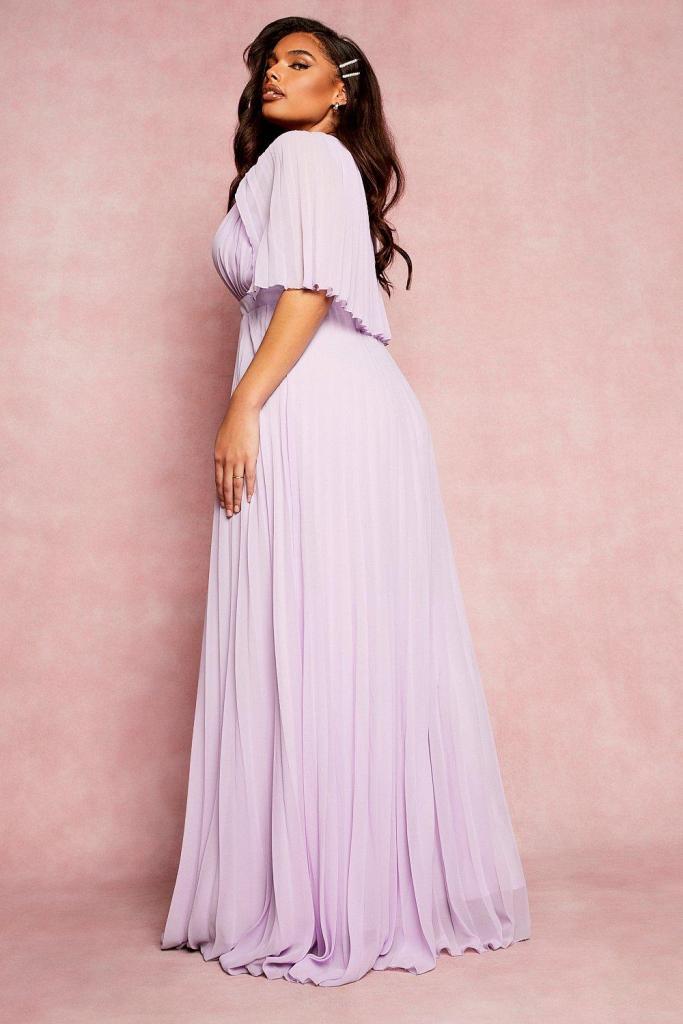 Plus bridesmaid pleated midi dress