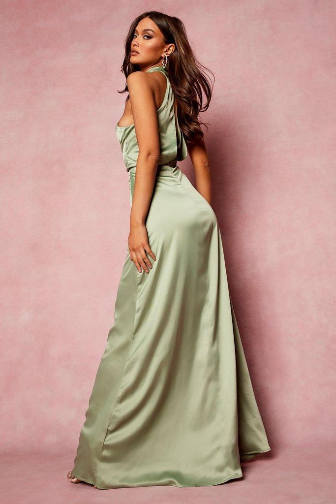 Satin halterneck maxi bridesmaid dress
