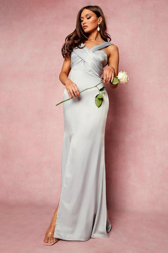 One shoulder split maxi bridesmaid dress