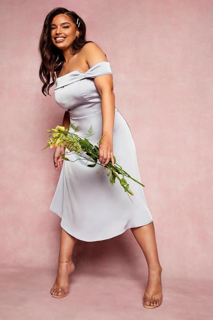 Plus bridesmaid bardot midi dress