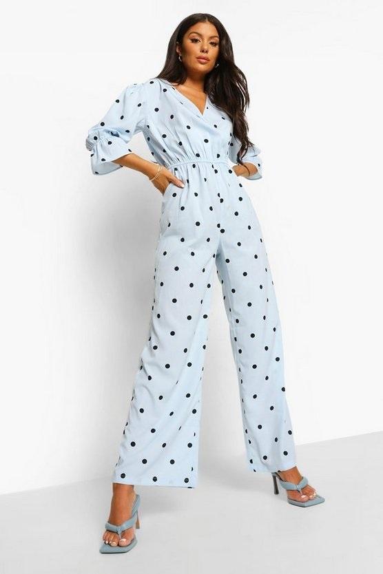 A pale blue polka dot jumpsuit