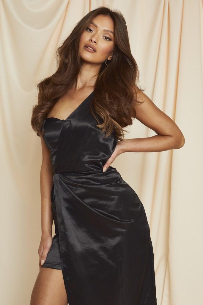 one shoulder drape midi dress