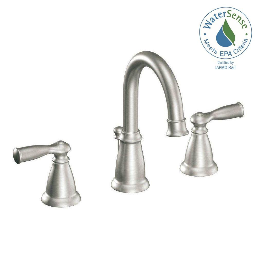 banbury 8 in widespread 2 handle high arc bathroom faucet in spot resist brushed nickel