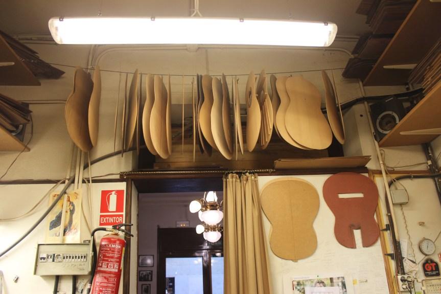 Guitar parts at Pedro de Miguel workshop