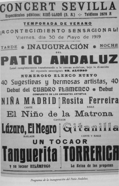 Nicknames in flamenco - poster from 19th century featuring artists' nicknames