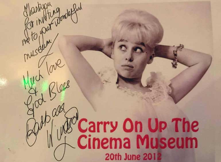 Barbara Windsor's autographed message at Cinema Museum London