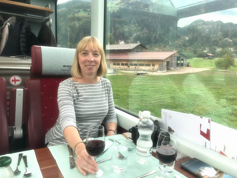 Dining on-board The Glacier Express