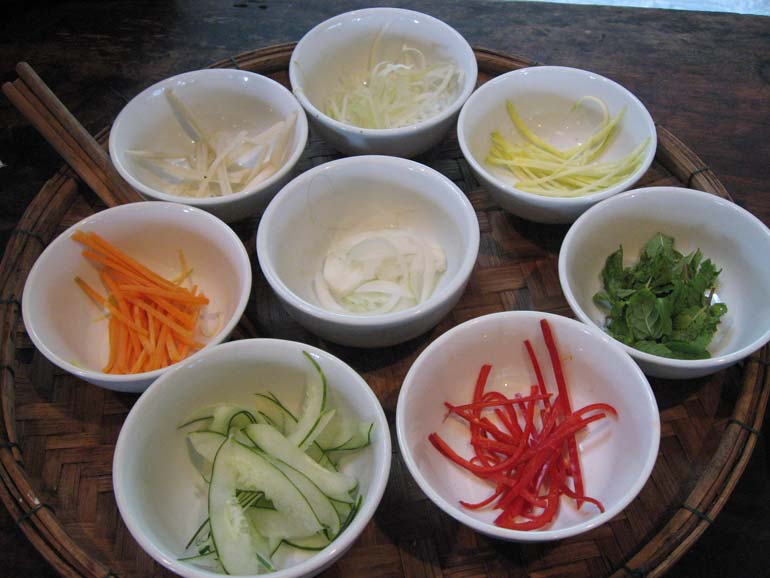cookery class spring roll ingredients