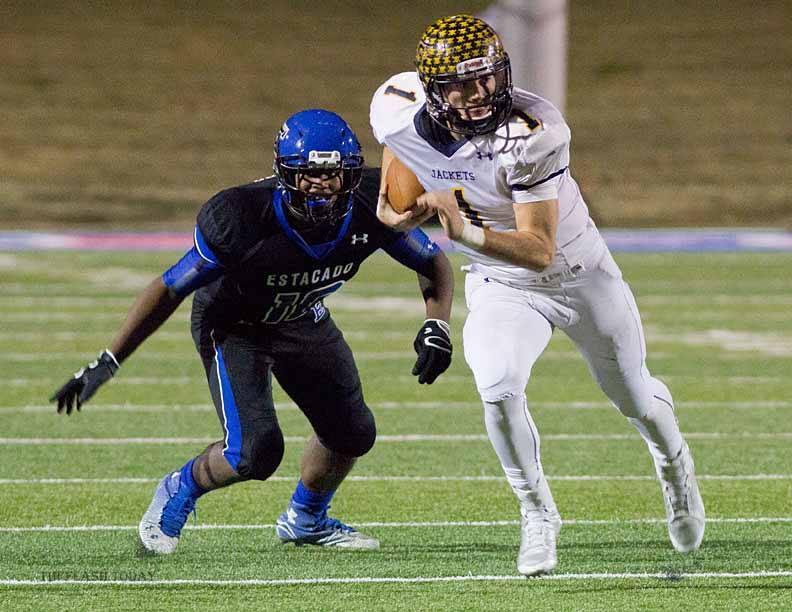 Stephenville dual-threat quarterback Jarrett Stidham passed and rushed for a total of 522 yards and nine touchdowns in his first game back from a broken hand last Friday. || Photo by RUSSELL HUFFMAN