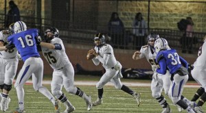 Anthony Chavarria has passed for two first half touchdowns for Stephenville. || Photo by RUSSELL HUFFMAN