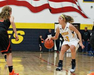 Junior guard Bayleigh Chaviers scored nine points to lead Stephenville Tuesday. || Photo by RUSSELL HUFFMAN