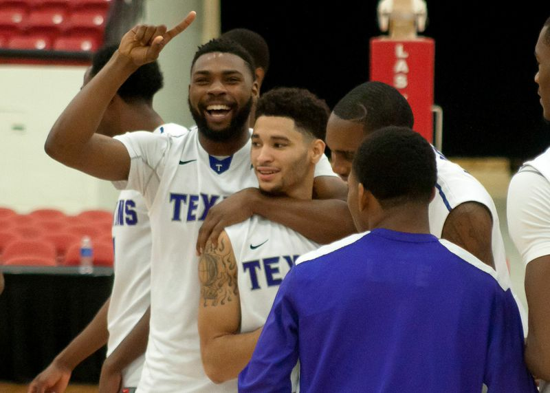 Malcolm Hamilton holds up the No. 1 during a recent win. He was Tarleton's No. 1 scorer in his first career start Tuesday. || Photo courtesy NATHAN BURAL/Tarleton