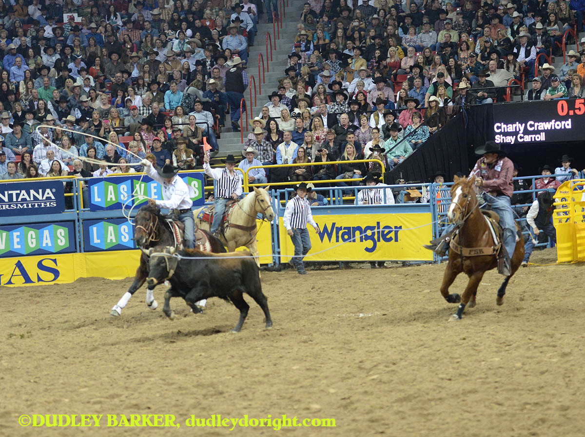 Charly Crawford, round three, 2014 WNFR, Dec. 6, 2014 || Photo by DUDLEY BARKER, dudleydoright.com