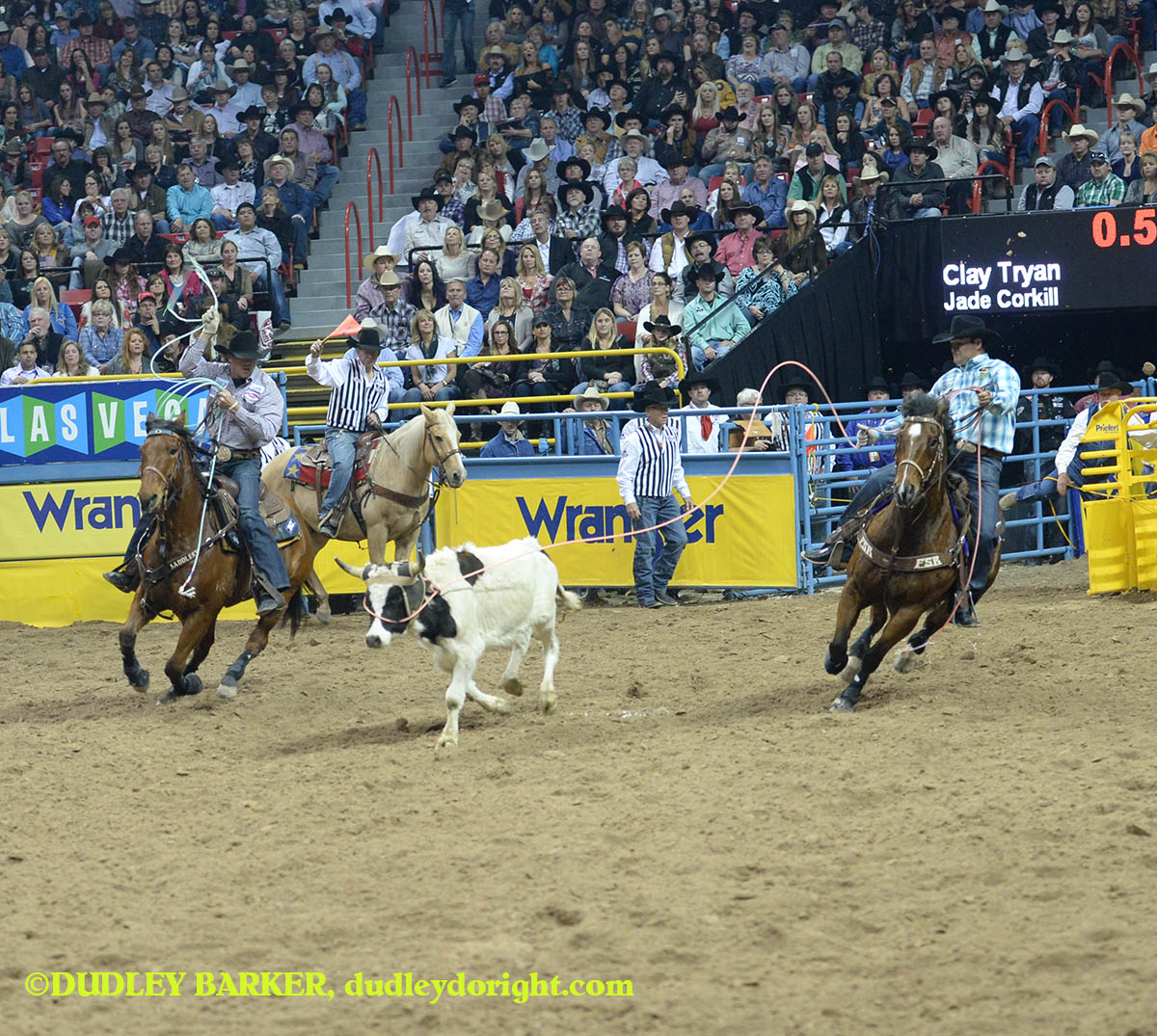 Clay Tryan, round three, 2014 WNFR, Dec. 6, 2014 || Photo by DUDLEY BARKER, dudleydoright.com
