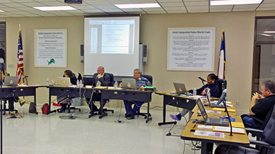 The DISD School Board and Superintendent Dr. Rodney Schneider discussed and approved action on a new day care on the old Jr. High campus, dual credit tuition assistance and new technology at the high school campus during the regular December meeting. || JESSIE HORTON photo