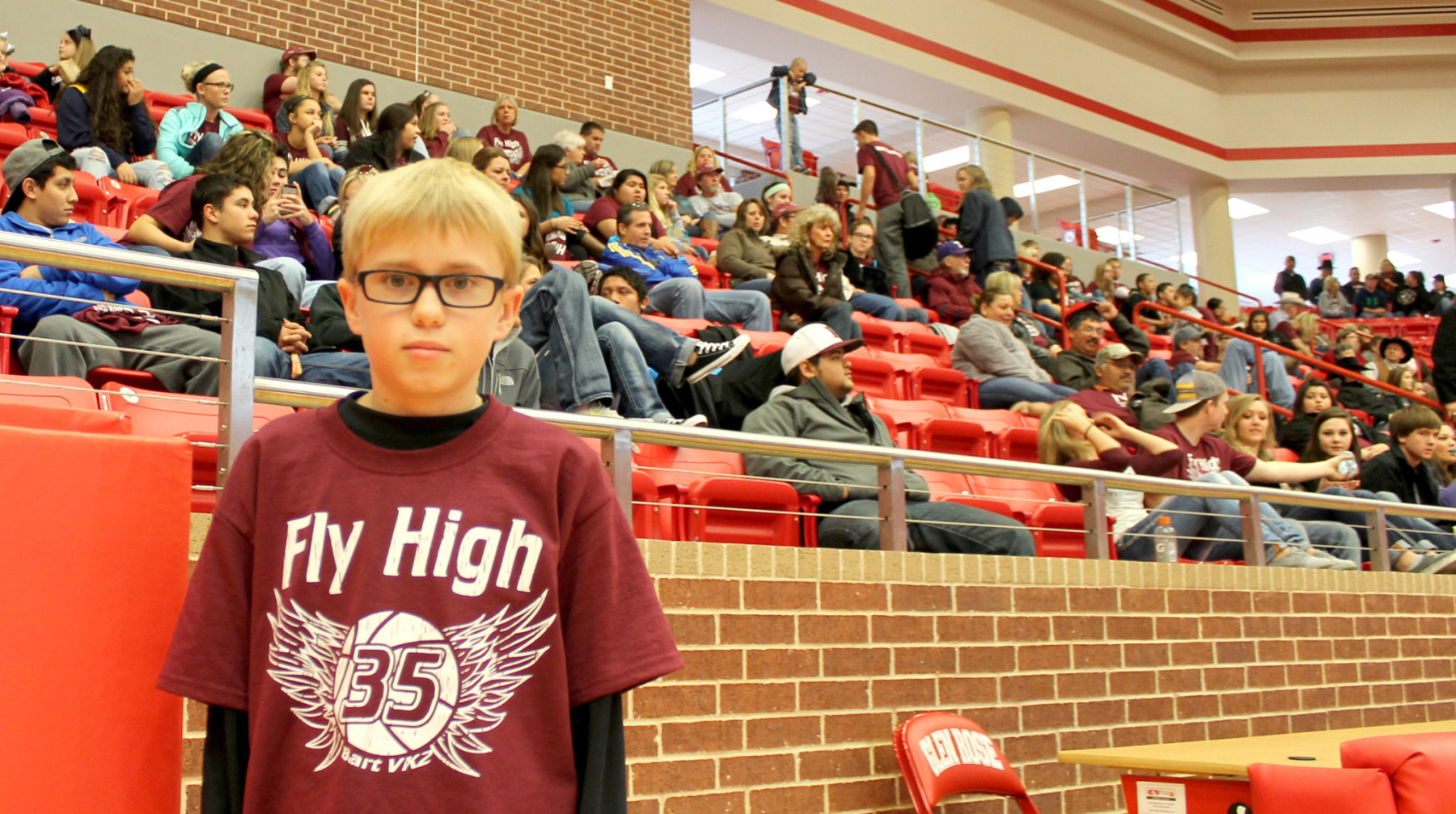 Gus Boeve of Lingleville donned the T-shirts made in memory of Bart VanKranenburg for the Cardinals' game in Glen Rose Tuesday.