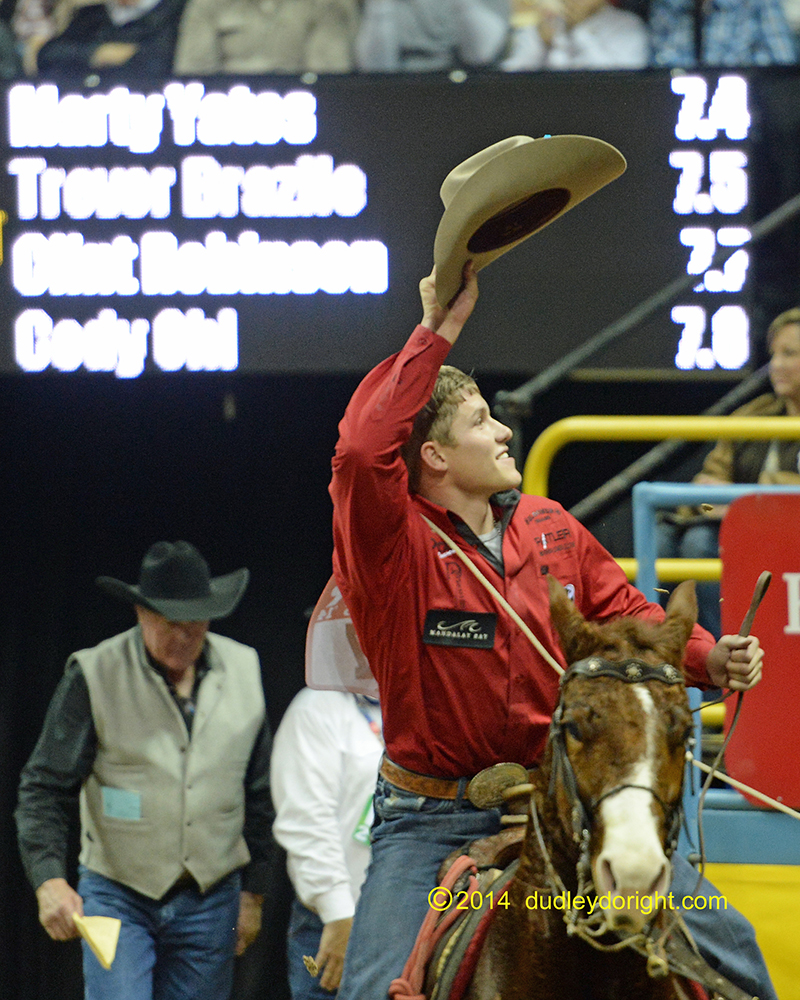 Marty Yates is shown taking a victory lap after winning a go-round at the Wrangler National Finals Rodeo last December. He won the Ram National Circuit Finals on Saturday. || Photo courtesy DUDLEY BARKER/dudleydoright.com